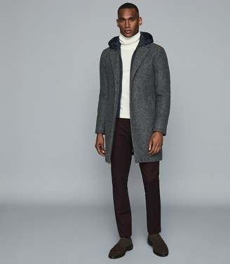 Reiss GALLILEO LONGLINE OVERCOAT WITH REMOVABLE HOODED INSERT Charcoal