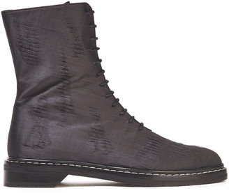 The Row Lace-up Distressed Satin Ankle Boots