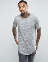 ONLY & SONS Longline T-Shirt With Curved Hem in Marl