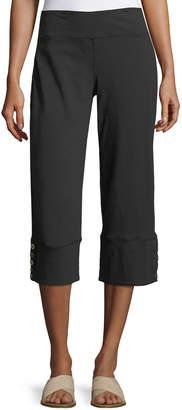 Neon Buddha Plus Size Seascape Button-Cuff Capri Pants