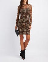 Charlotte Russe Leopard Mesh Overlay Bodycon Dress
