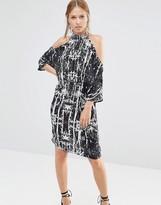 Liquorish Palm Print Cold Shoulder Knee Length Dress