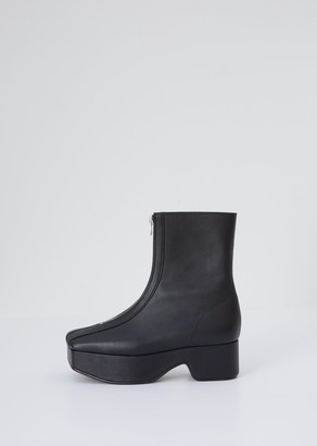 Flat Apartment Zipped Platform Boot Black
