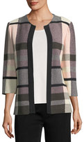 Misook Plaid 3/4-Sleeve Jacket, Plus Size