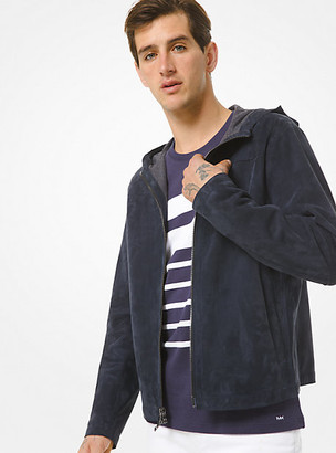 Michael Kors Bonded Suede Hooded Jacket - Midnight