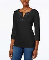 Karen Scott Crochet Split-Neck Top, Only at Macy's