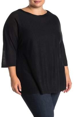 GRACE ELEMENTS Boatneck Linen Blend Knit Top (Plus Size)