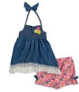 Little Lass Girls 2-6x Little Girl's Denim Halter Dress and Shorts Set