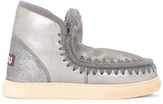 Mou Mini Eskimo Sneaker Ankle Boot In Gray Sheepskin With Microglitter Effect