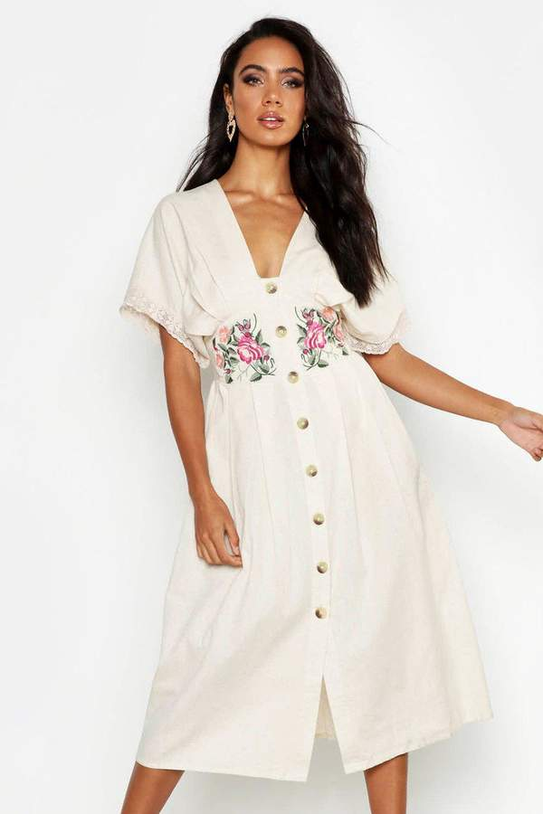 6d7207693085b boohoo White Embroidered Dresses - ShopStyle