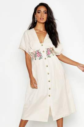 boohoo Embroidered Linen Button Front Midi Dress