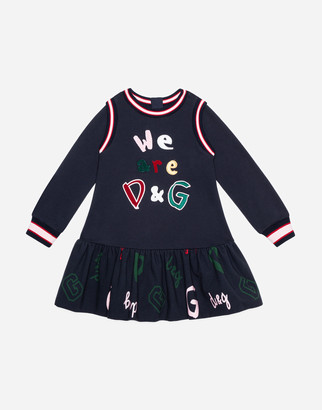 Dolce & Gabbana Short Jersey Dress With Patch Embellishment