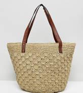 Reclaimed Vintage Inspired Straw Shoulder Bag With Leather Straps