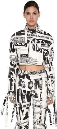 Jeremy Scott Cropped Cotton Denim Jacket