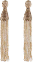 Oscar de la Renta Long beaded tassel clip-on earrings
