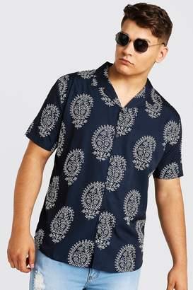 BoohoomanBoohooMAN Mens Black Big & Tall Paisley Revere Collar Shirt, Black
