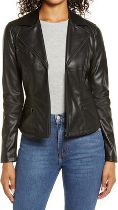 Halogen Center Zip Faux Leather Jacket