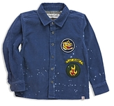 Sovereign Code Boys' Paint-Splattered Corduroy Shirt with Patches - Little Kid