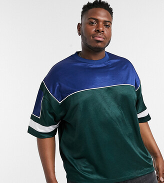 ASOS DESIGN Plus oversized t-shirt with half sleeve in polytricot colour block