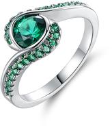 Emerald & Silvertone Bypass Ring