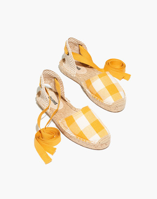 Madewell Soludos Lauren Espadrille Sandals in Marigold Gingham Check