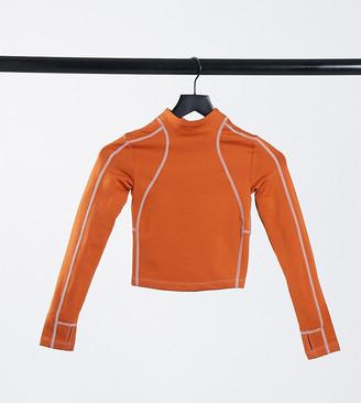 ASOS 4505 Petite fleece back outdoor high neck long sleeve run top