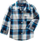Osh Kosh Boys 4-12 Blue & Black Plaid Button-Front Shirt