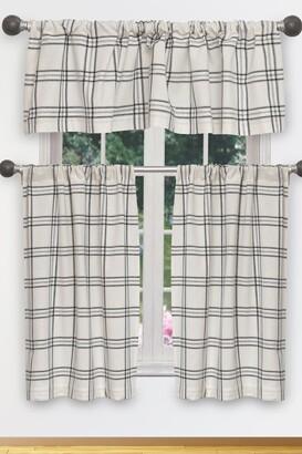 Duck River Textile Gwen Metallic Plaid Natural Kitchen Curtain & Tier Set - Black