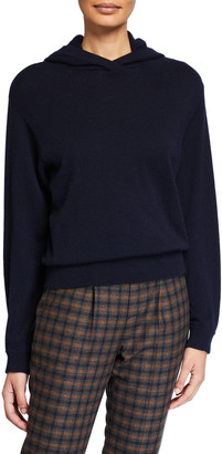 Vince Cashmere Overlap Hoodie Sweater