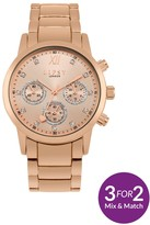 Lipsy Rose Gold Tone Bracelet With Rose Gold Sunray Dial Ladies Watch