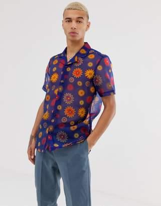Asos Design DESIGN regular shirt with bright daisy print-Blue