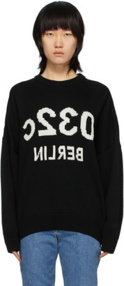 032c Black Wool Knit Intarsia Logo Sweater