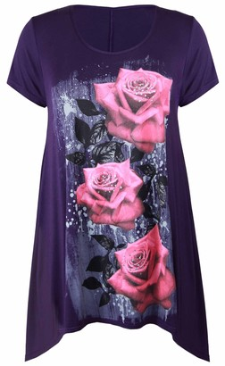Purple Hanger New Womens Plus Size Uneven Hanky Hem Short Sleeve T-Shirt Top Ladies Floral Rose Print Jersey Tunic Purple Size 12-14
