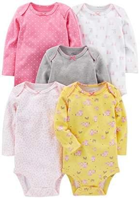 Carter's Simple Joys by Baby Girls' 5-Pack Long-Sleeve Bodysuit