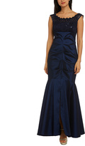 R & M Richards Navy Lace-Yoke Sleeveless Gown - Plus Too