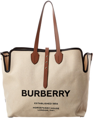 Burberry Large Logo Print Cotton Tote
