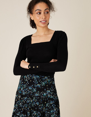Monsoon Sable Square Neck Long Sleeve Top Black