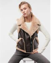 Express color block faux fur (Minus the) leather vest