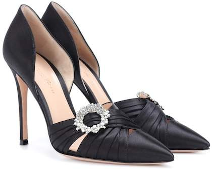 Gianvito Rossi Crystal-embellished satin pumps