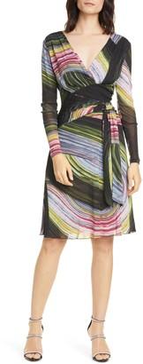 Diane von Furstenberg Indigo Long Sleeve Faux Wrap Dress