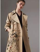 Burberry Sketch Print Cotton Gabardine Trench Coat