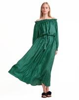 Cynthia Rowley Off-Shoulder Silk Peasant Sleeve Dress