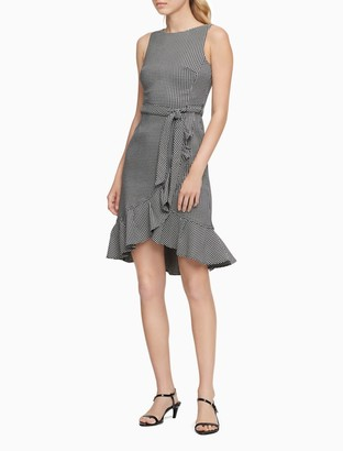 Calvin Klein Check Belted Ruffle Hem A-Line Dress