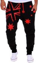 MITIAO Mens Gym Long Sweatpants Flag Printing Design Comfortable Cotton Male Joggers Pants Black Red L
