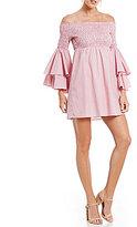 Gianni Bini Savannah Smocked Off the Shoulder Tiered Sleeve Poplin Dress