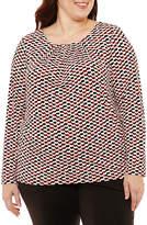 Liz Claiborne Long Sleeve Pleat Neck Top- Plus