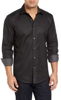 Bugatchi Shaped Fit Dot Grid Sport Shirt
