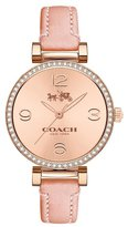 Coach Women's Synthetic Leather Band Steel Case Quartz Rose Gold-Tone Dial Analog Watch 14502649