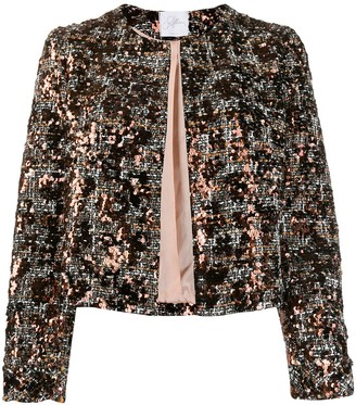 Soallure Sequined Cropped Jacket