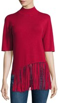 philosophy Half-Sleeve Sweater with Fringe Front, Red Topaz